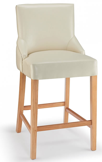 Naponese Oak Wood Stylish Kitchen Breakfast Bar Stool Cream Padded Seat