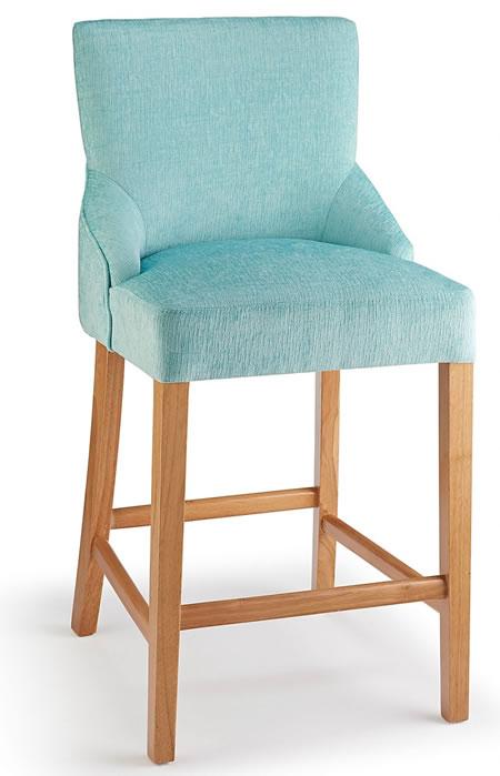 Naponese Oak Wood Stylish Kitchen Breakfast Bar Stool Aqua Fabric Padded Seat Fully Assembled