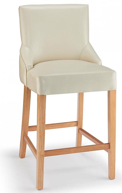 Naponese Oak Wood Stylish Kitchen Breakfast Bar Stool Cream Padded Seat Fully Assembled