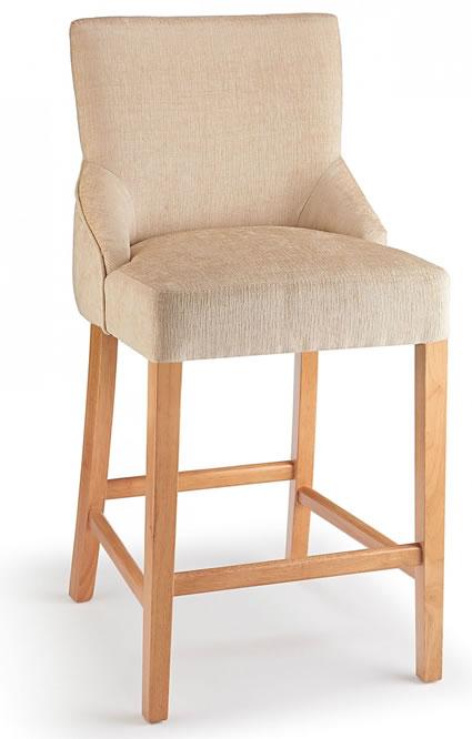 Naponese Oak Wood Stylish Kitchen Breakfast Bar Stool Cream Fabric Padded Seat Fully Assembled