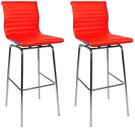 Pair Rovinga Chrome and Padded Kitchen Breakfast Bar Stools Fixed Height Various Colours 4 Leg Frame