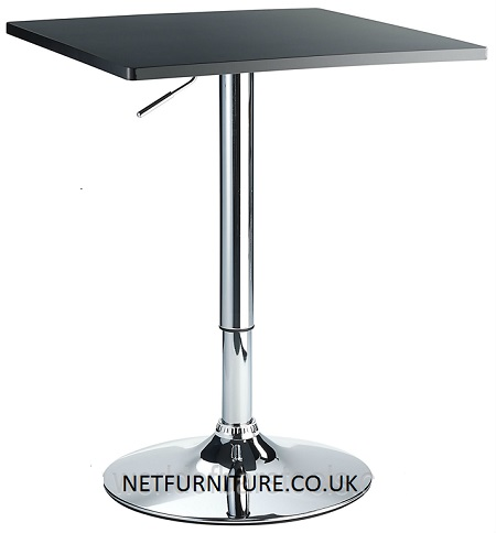 Trafalgar Square Bar Table Black or White Satin Finish and Chrome Pedastal