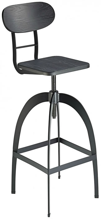 Fipony Rustic Industrial Style Swivel and Height Adjustable Kitchen Breakfast Bar Stool in Black