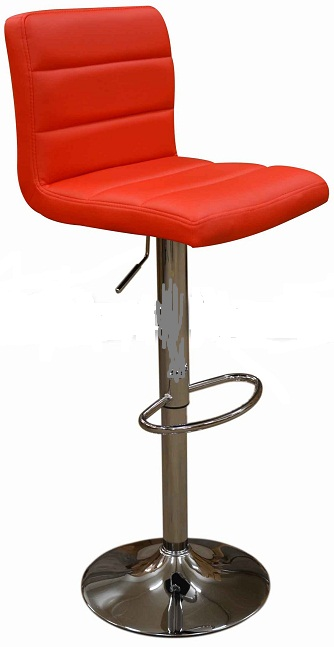 Opulent Kitchen Breakfast Bar Stool Padded Red Seat Height Adjustable Chrome Frame