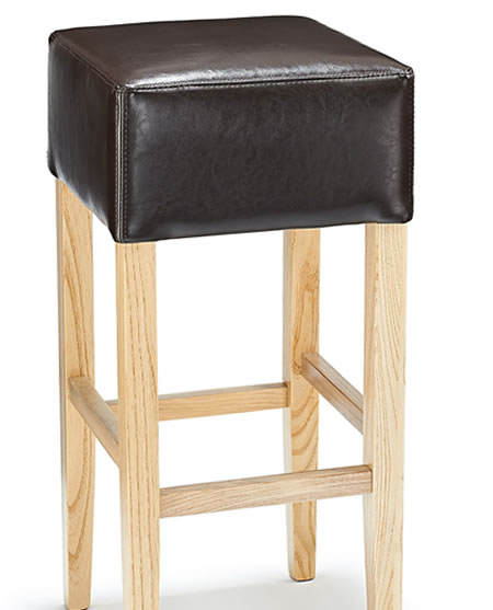 Rhone Brown Real Bonded Leather Hard Wood Oak Kitchen Bar Stool - Fully Assembled