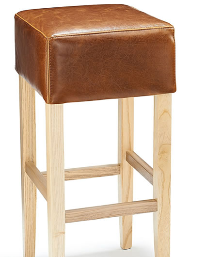 Rhone Tan Real Bonded Leather Hard Wood Oak Kitchen Bar Stool - Fully Assembled