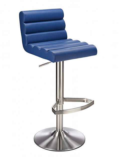 Manitor Brushed Steel Kitchen Swivel Bar Stool With Faux Leather Padded Seat 6 Colour Option Ribbed Seat