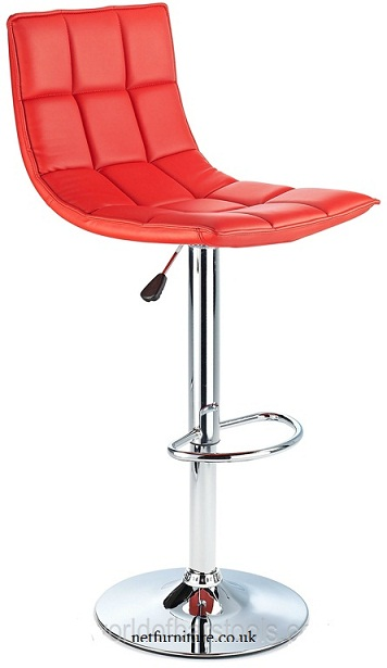 Merc Chrome Padded Red Stool - Adjustable