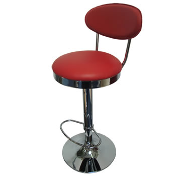 Pisanoy Retro Red Kitchen Breakfast Bar Stool With Back Height Adjustable