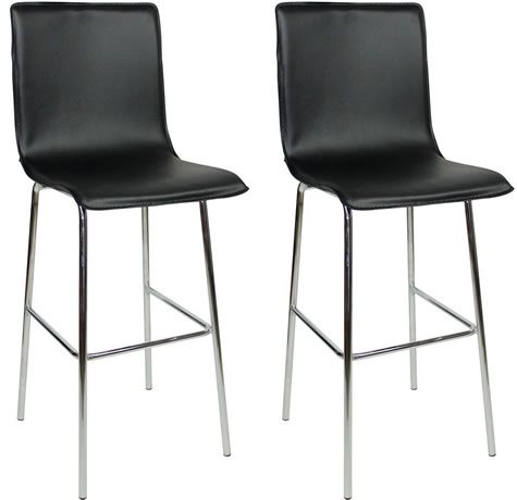 Pair Golling Chrome and Padded Kitchen Breakfast Bar Stools Fixed Height Various Colours 4 Legs Chrome Frame