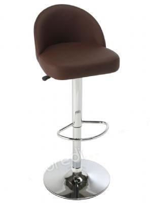 Lombardo Brushed Frame Bar Stool - Adjustable - Faux Leather Seat With Back