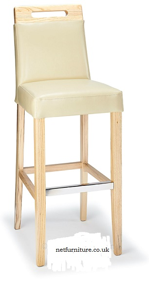 Greta Kitchen Bar Stool with Wood Frame and Bonded Leather Cream Padded Seat Fully Assembled