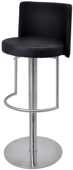 Mayzani Brushed Steel Kitchen Stool With Footrest and Padded Back