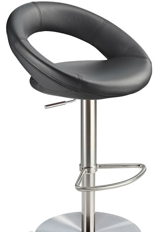 Crescent Real Leather Brushed Steel Effect Bar Stool
