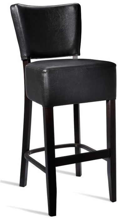 Dorit Solid Beech Barstool with Padded Faux Leather