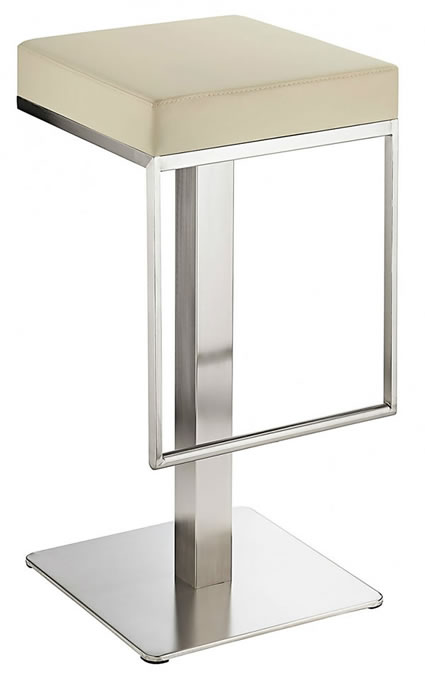 Nurosey Kitchen Brushed Bar Stool Cream Seat No Back Fixed Height