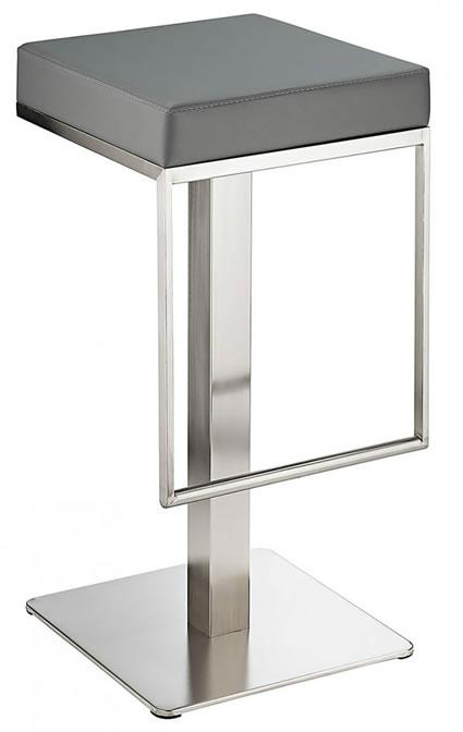 Nurosey Kitchen Brushed Bar Stool Grey Seat No Back Fixed Height