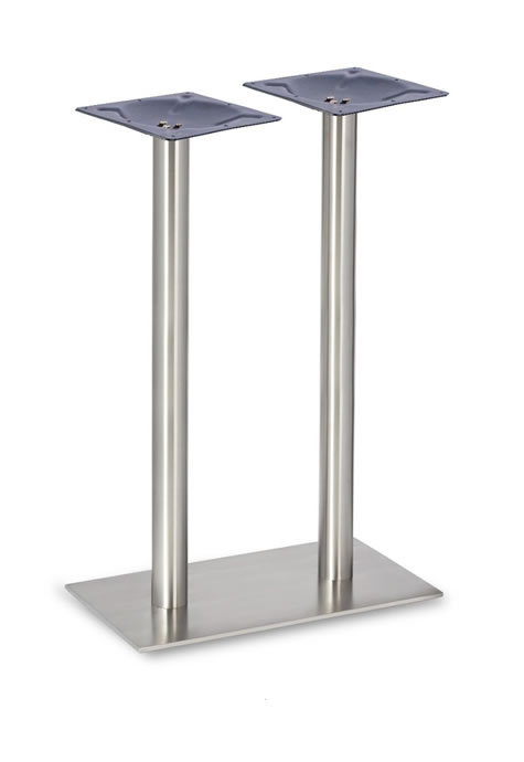 dayson twin brushed stainless steel oblong table base made to measure size dining, poseur height