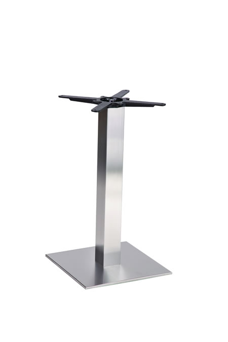 Baarluna square stainless steel brushed table base made to measure size dining, poseur height