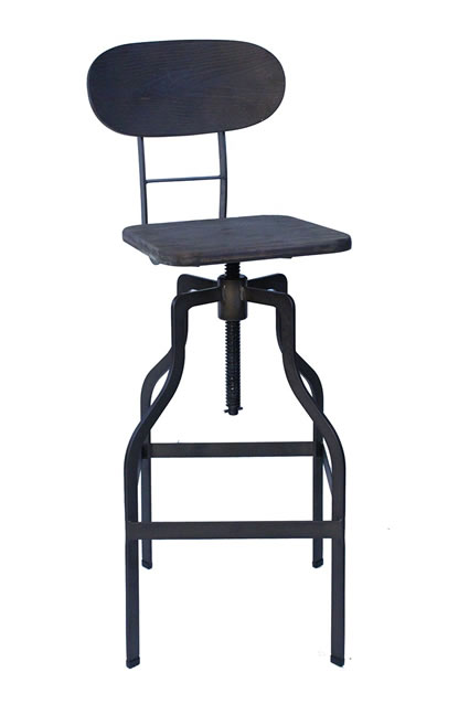 Bolzing Kitchen Bar Stool Retro Vintage Industrial Stool Brown Wood Seat