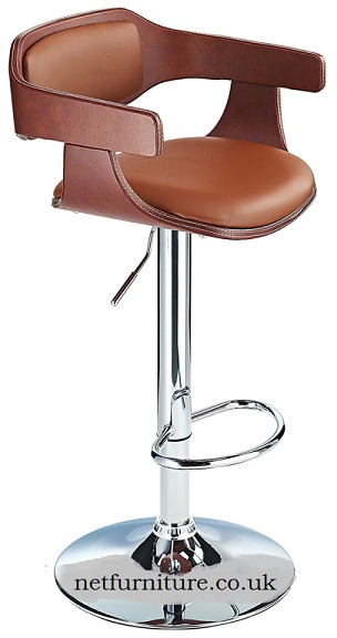 Augur Adjustable Bar Stool with padded faux leather and two tone upholstery