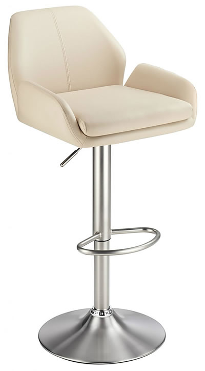 Oronwy Brushed Steel Kitchen Swivel Breakfast Bar Stool With Faux Leather Padded Seat 5 Colour Option Padded Back