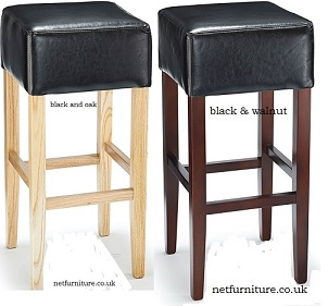 Felix Wood Bar Stool with padded, Bonded or Aniline leather seat - Fully Assembled