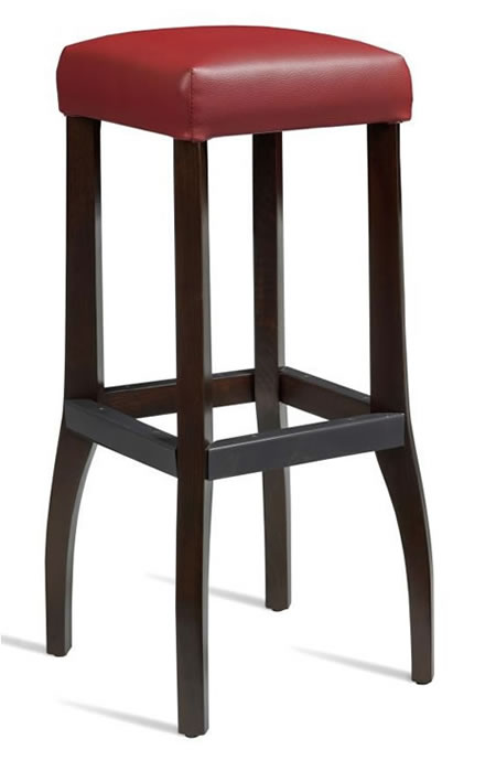Saxon Solid Wood Kitchen Bar Stool - Red Padded Seat