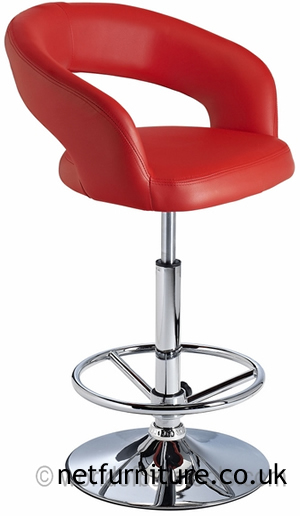 Acqua Bar Stool with Padded Adjustable Swivel Seat - Red