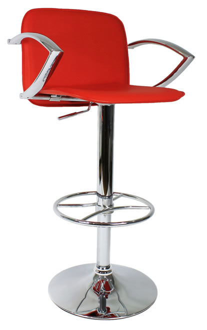 Paris Red Kitchen Breakfast Bar Stool With Arms Height