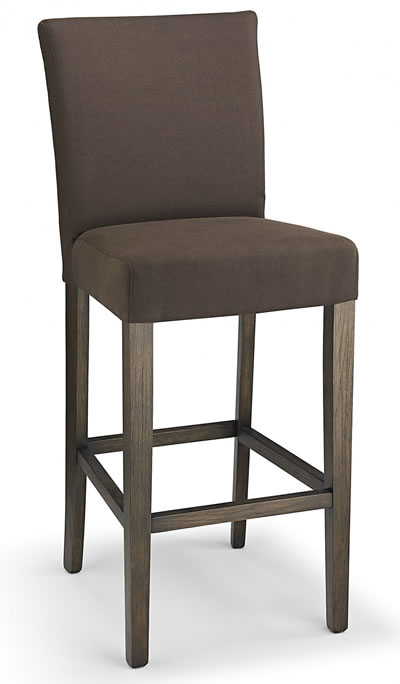 Promitey Brown Fabric Seat Kitchen Breakfast Bar Stool Wooden Frame Fully Ass