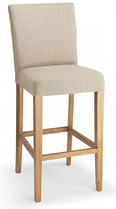 Promitey cream fabric seat kitchen breakfast bar stool wooden frame fully assembled