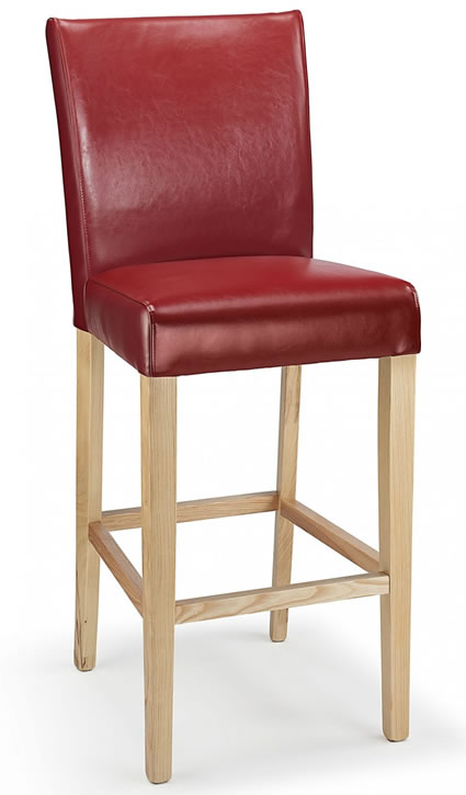 Promitey red bonded leather seat kitchen breakfast bar stool wooden frame fully assembled