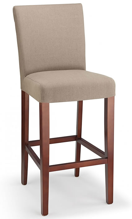 Promitey beige fabric seat kitchen breakfast bar stool wooden frame fully assembled
