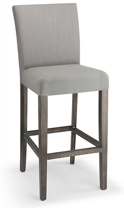 Promitey grey fabric seat kitchen breakfast bar stool wooden frame fully assembled