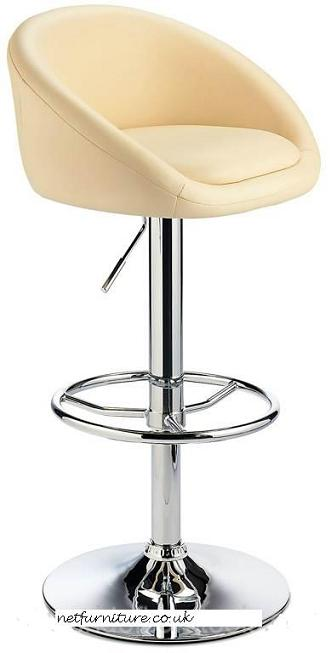 Lombardy Kitchen Breakfast Bar Stool - Cream Seat Chrome or Brushed Frame