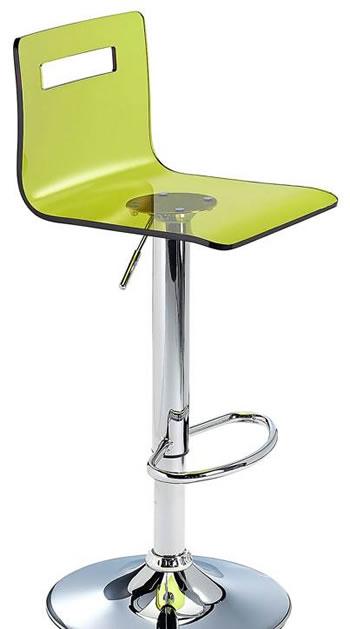 Tower Acrylic Transparent Kitchen Breakfast Bar Stool Adjustable Height - Green