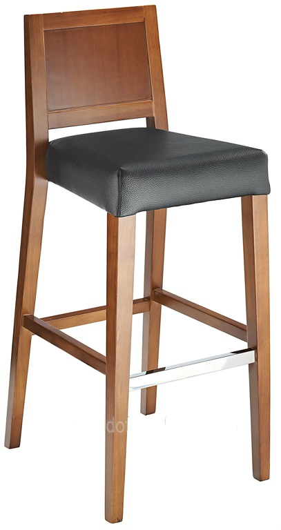 Village Fixed Height Wooden Bar Stool with Faux Leather Padded Seat