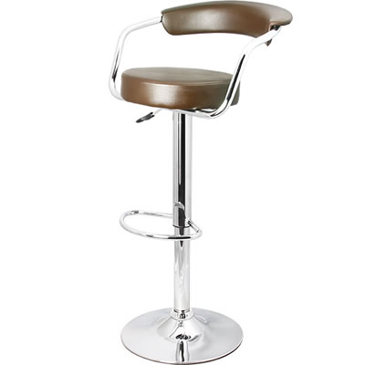 Zent Chrome Bar Stool - Adjustable - Brushed Steel with Faux Leather Seat