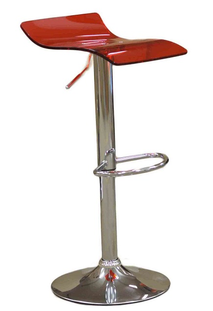 Harvey Luminescent Red Perspex Acrylic Kitchen Bar Stool Height Adjustable Swivel Seat