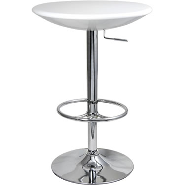 Podey white tall adjustable bar kitchen table - chrome frame