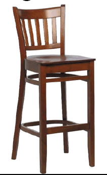 Pruce Wood Frame Bar Stool - Walnut or Beech Fully Assembled