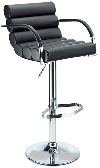 Exeter Breakfast Bar Stool Adj Height Black Faux Leather Padded Seat