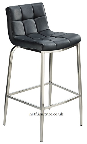 Laval Fixed Height Bar Stool with Padded Seat and Brushed Steel Frame