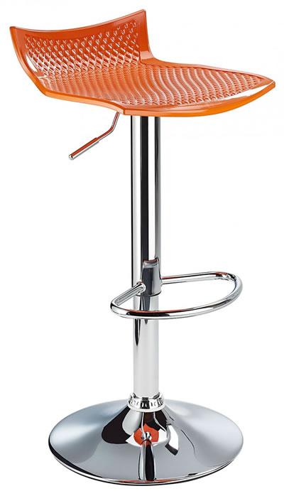 Blezing Orange Modern Kitchen Bar Stool Height Adjustable
