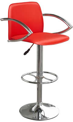 Nerckile red bar stool with arms and back height adjustable