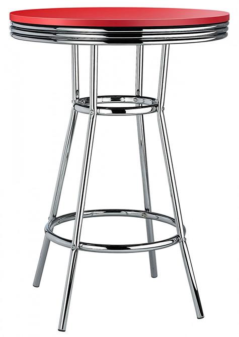Dallas Red American Diner Bar Table Tall Bar Poseur High Tall Table Chrome Frame