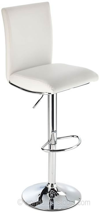 Rosost Kitchen Breakfast Bar Stool High Padded Back Height Adjustable- White