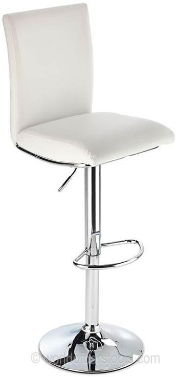 Rosost Kitchen Breakfast Bar Stool High Padded Back Height Adjustable- White