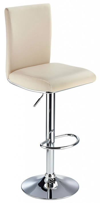 Rosost Kitchen Breakfast Bar Stool High Padded Back Height Adjustable- Cream